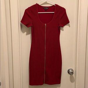 Express red zip up mini dress XS